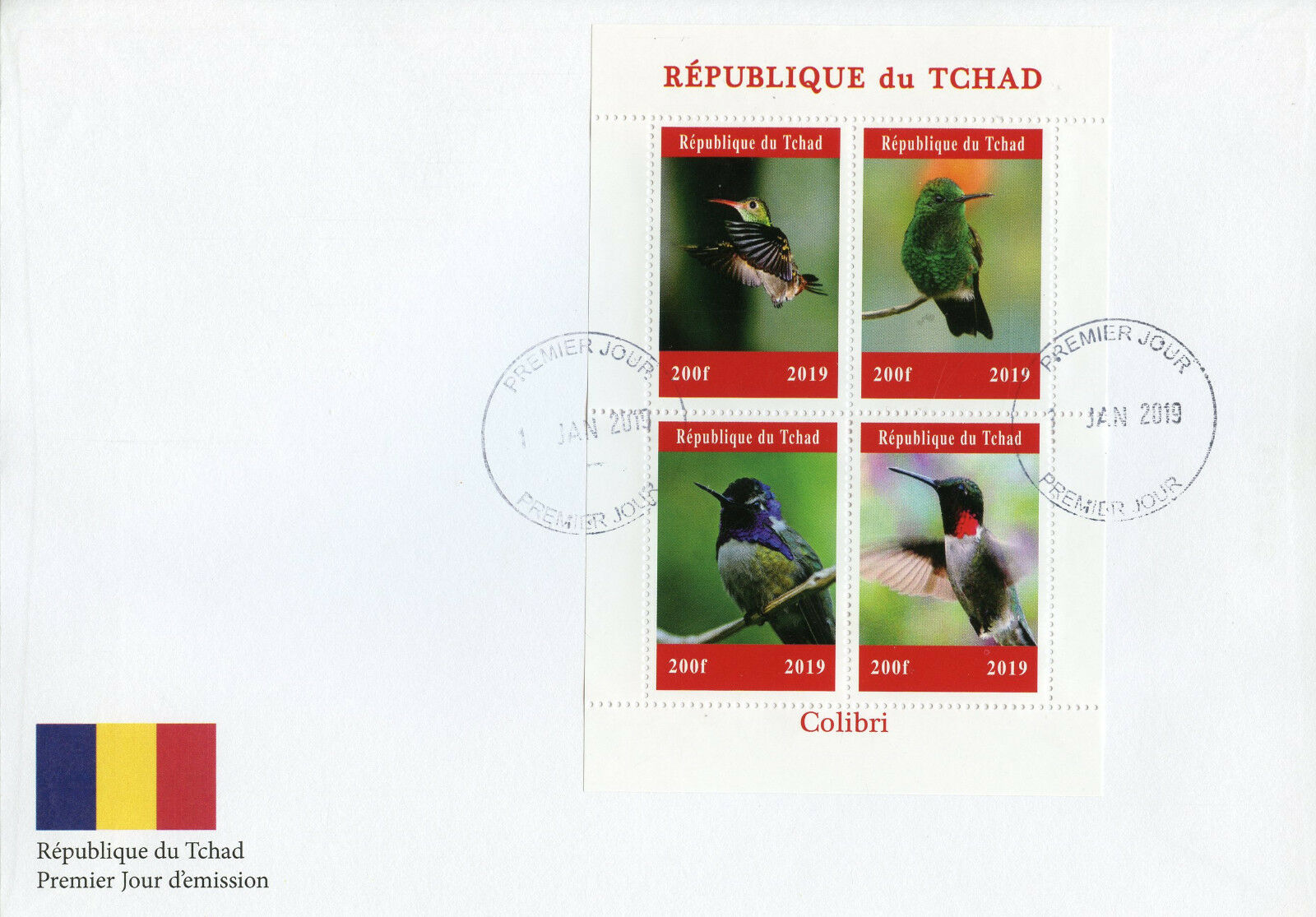 Republic of Chad - Hummingbirds (January 1, 2019) first day cover