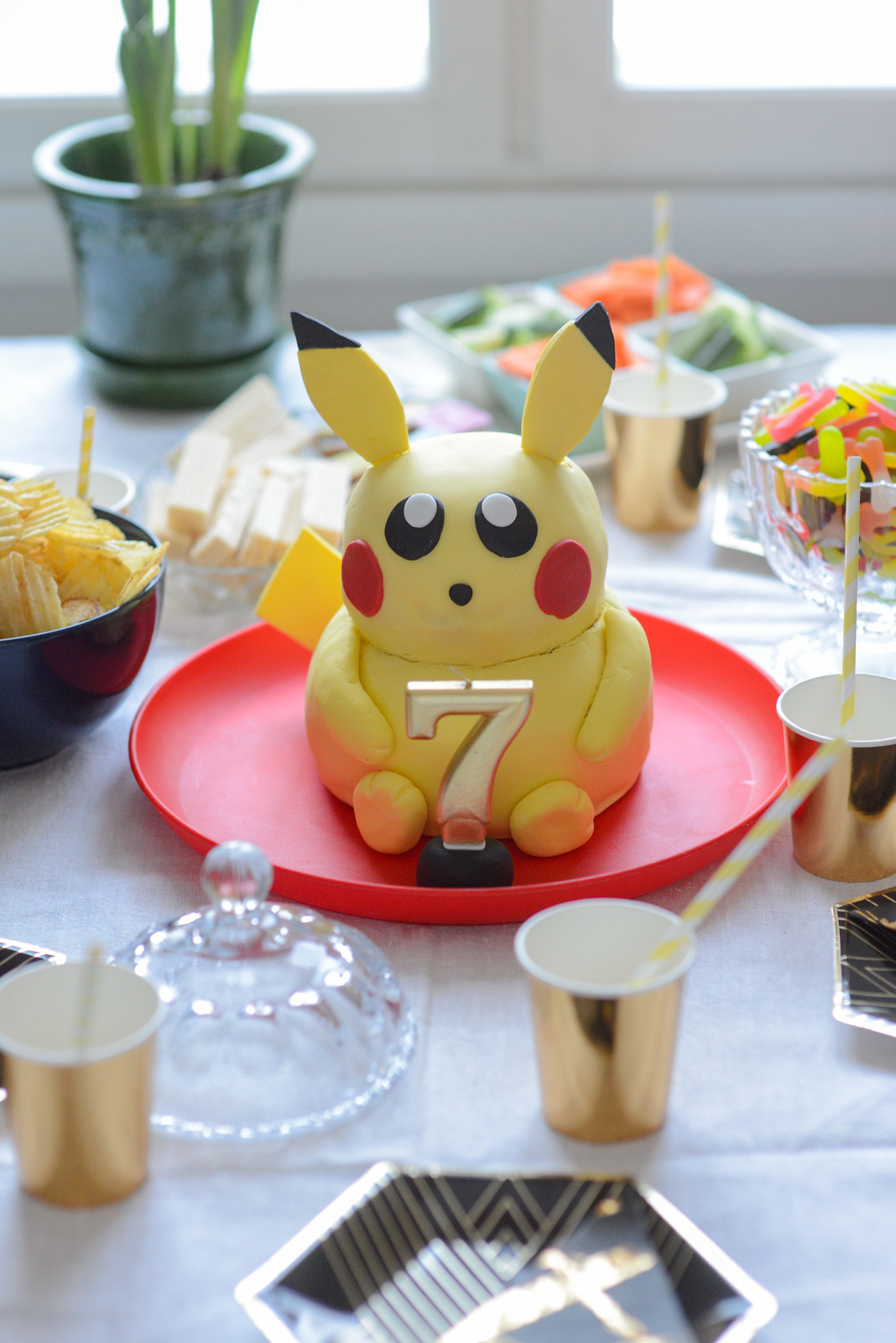 Pokemon birthday party with Pikachu cake