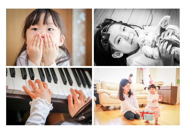 家族写真 三姉妹 ピアノを弾く手元