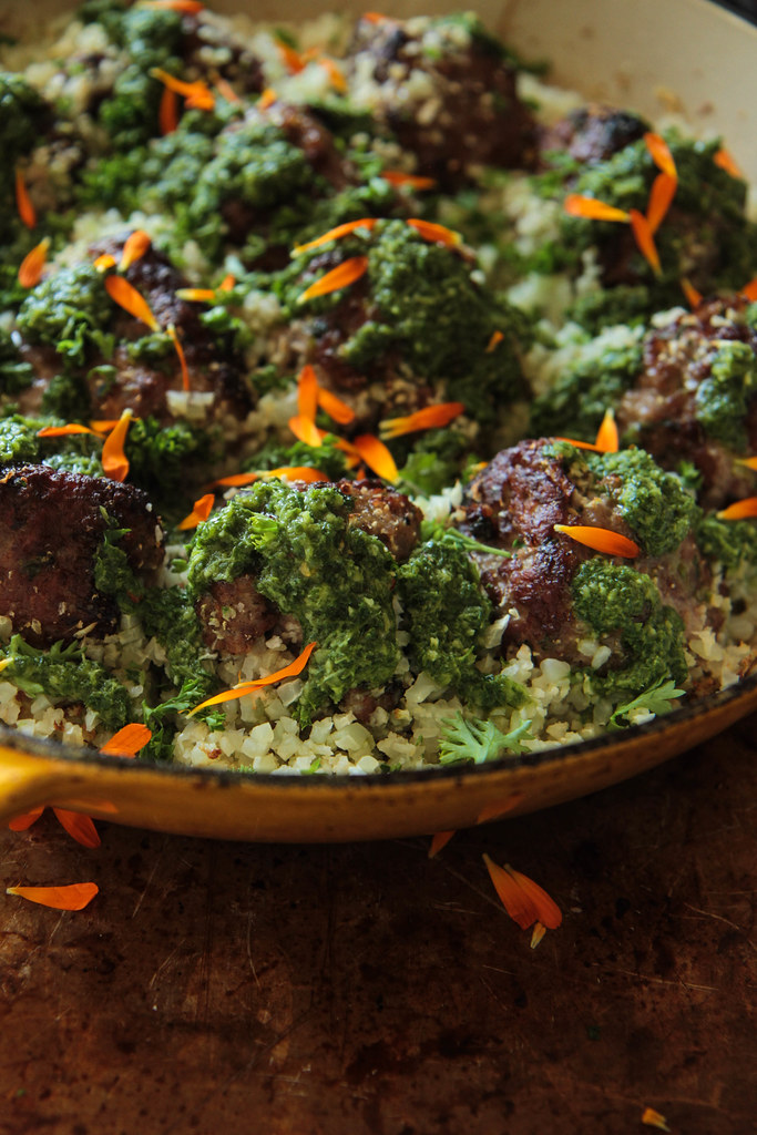 Keto Meatballs with Cauliflower Rice and Chimichurri Sauce from HeatherChristo.com