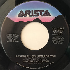 WHITNEY HOUSTON:SAVING MY ALL LOVE FOR YOU(LABEL SIDE-A)