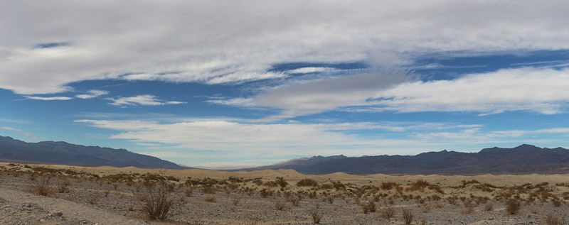 Panorama view of the Mesquite Flat Sand Dunes looking north