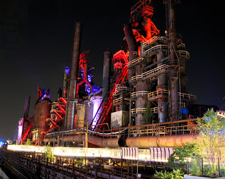 steel stacks  light show