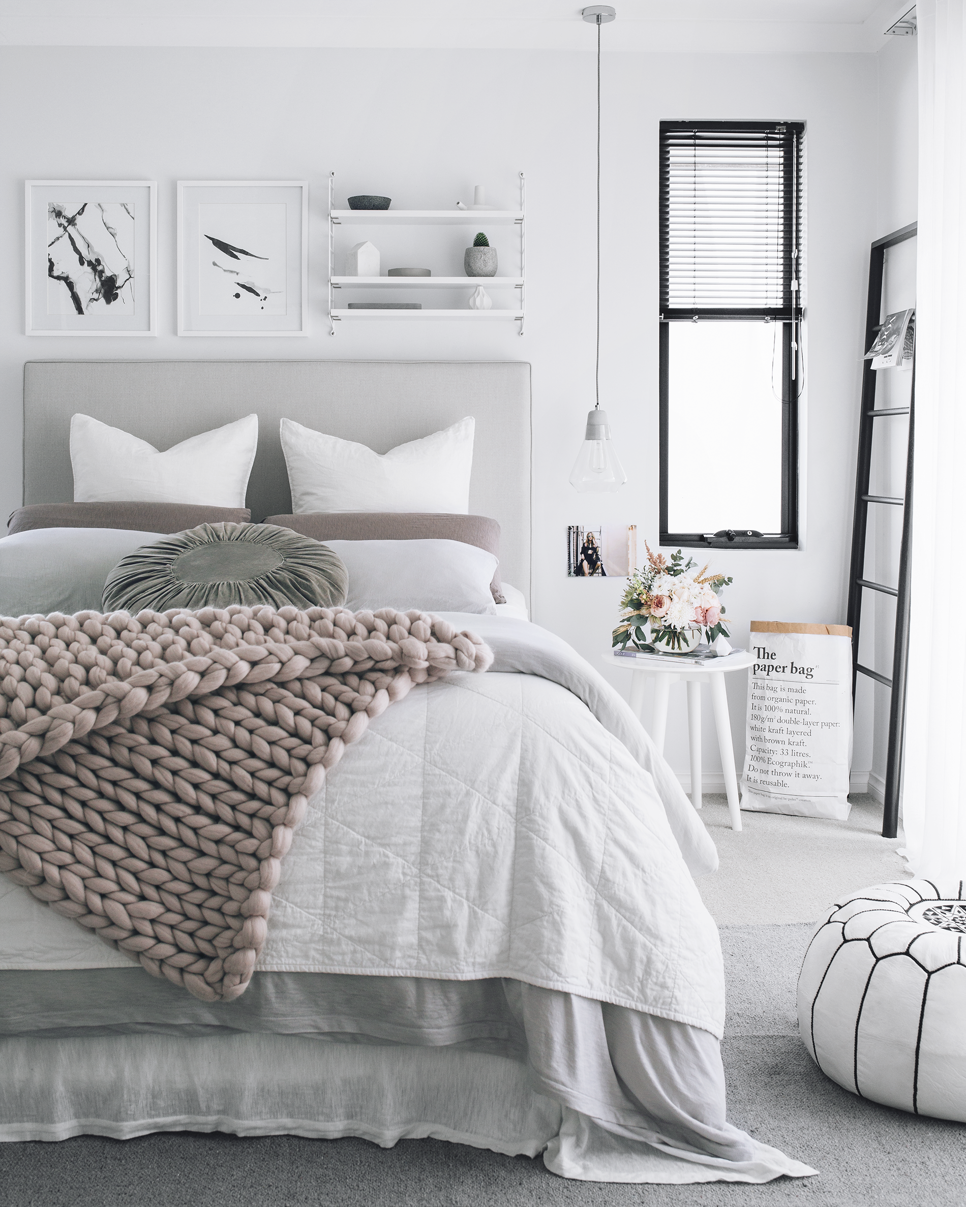 White Gray Neutral Bedroom Inspiration