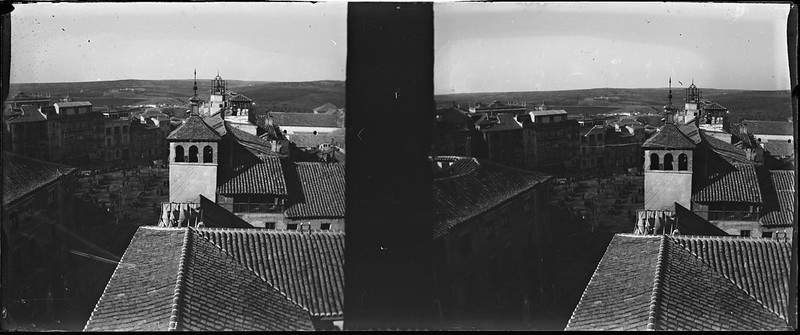 Plaza de Zocodover de Toledo vista desde el Alcázar el 24 de febrero de 1918. Fotografía de Carles Batlle Ensesa © Ajuntament de Girona. CRDI (Carles Batlle Ensesa)