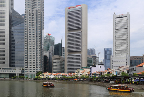 The Financial hub overlooking the old Boat Quay of Singapore
