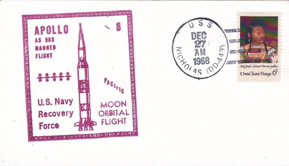 Cover postmarked on USS Nicholas (DD-449) in the U.S. Navy's Pacific Recovery Force, December 27, 1968.