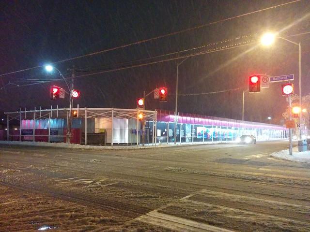 Gazing southwest through snow and lights #toronto #honesteds #bloorstreetwest #bathurststreet #night #lights