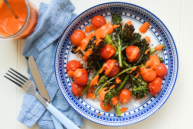 Charred Tenderstem and Cherry Tomato Rice Bowl with Romesco Sauce
