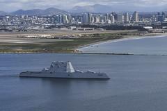 USS Zumwalt (DDG 1000) departs San Diego, March 8. (U.S. Navy/MC2 Natalie M. Byers)