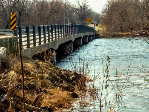Bridge over Rising Waters on Rock River in Afton