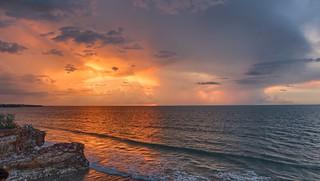 Dripstone Cliffs stormy sunset - Casuarina Coastal Reserve, Darwin, NT, Australia.