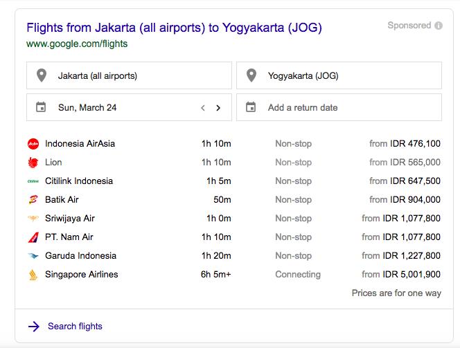 Flight Jakarta to Yogyakarta