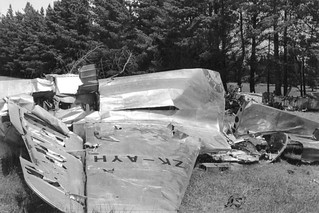 1957 The remains of SAFE Bristol Freighter ZK-AYH after the crash at Russley Golf Course, Christchurch