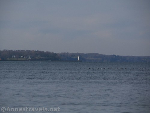 Views toward the lighthouse on Sodus Point from Chimney Bluffs State Park, New York