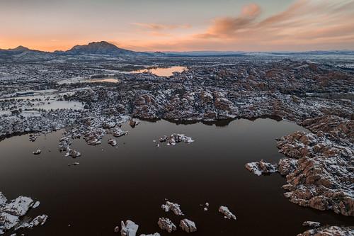 arizona clouds dji granite granitemountain lake prescott snow sunset water watsonlake willowlake winter winterstorm dells drone landscape reflection