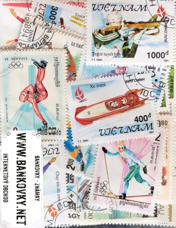 Známky zimné olympijské hry balíček 50 ks rôznych