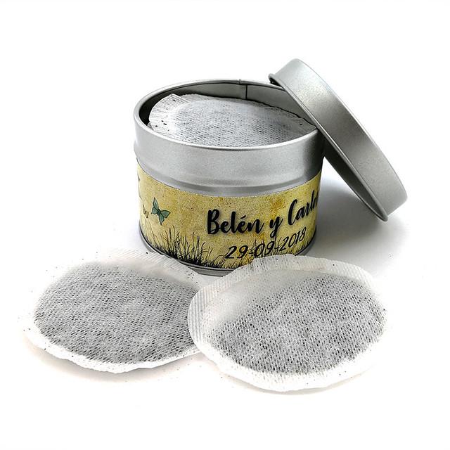 Monodosis de té en lata personalizada para boda