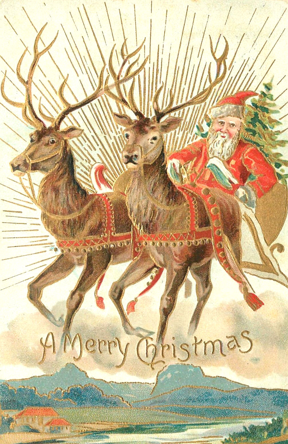 Christmas postcard of Santa Claus and his reindeer. Published by Souvenir Post Card Company, New York. December 1907 postmark.
