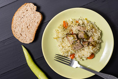 Risotto with Pork Meat and Green Paprika and Bread