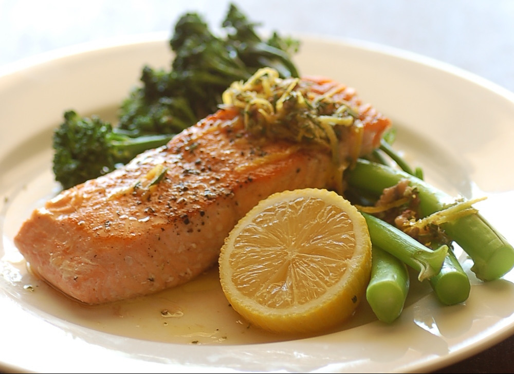 salmon with broccolini & rosemary anchovy sauce