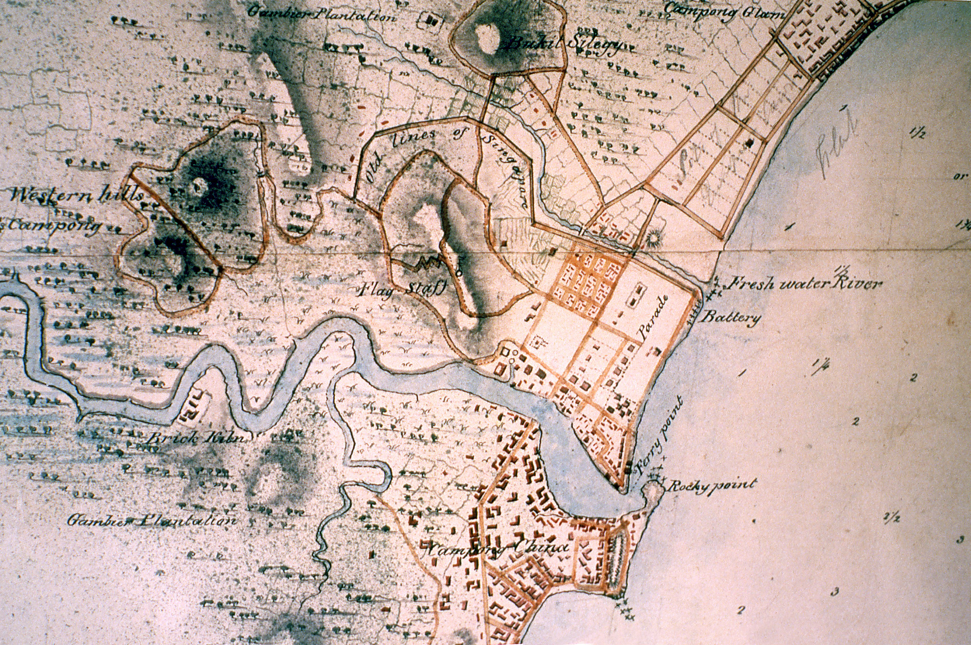 A survey map of Singapore showing the old lines of Singapore; the Singapore River; and Rocky Point, where the ancient sandstone slab which the Singapore Stone is a fragment of once stood. Fort Canning hill (centre) was home to its ancient and early colonial rulers. The map was drawn on June 18, 1825. From the India Office Records of the British Library, London.
