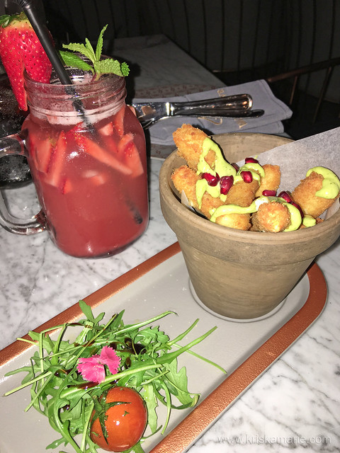 Halloumi Fries and Strawberry Mojito