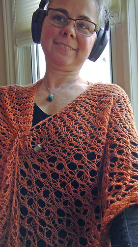 Handspun knitted lace asymmetrical triangle shawl Lacymmetry in BFL/silk yarn dyed with madder by irieknit