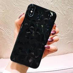 Coque Luxueuse Transparente A Texture Diamant Pour iPhone Xs Noir