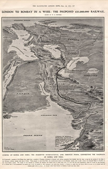 The Proposed London to Bombay Railway (map 1910)