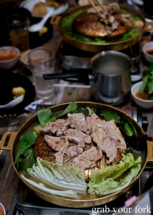 Moo kratha Thai bbq hotpot at Capital Thai in Haymarket Chinatown Sydney