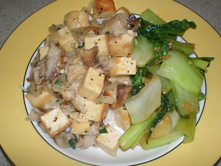 Tofu with Mushrooms and Miso; Easy Stir-Fried Leafy Greens (Vcon)