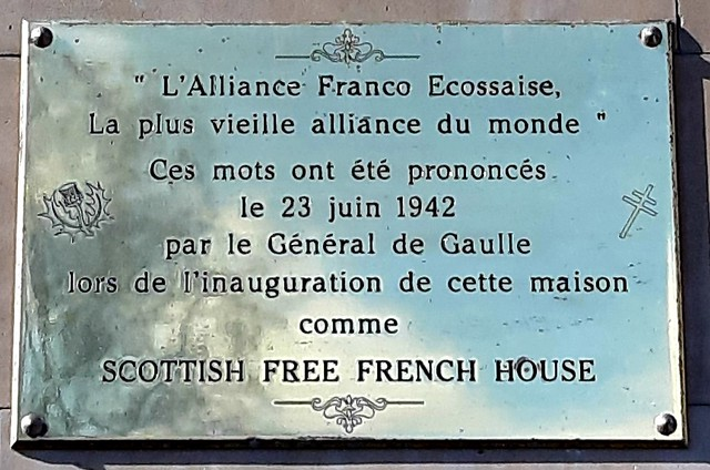Charles De Gaulle And Scottish Free French House Brass Plaque Open Plaques