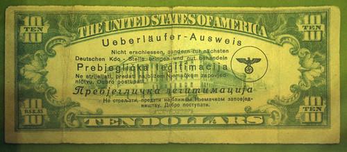 Nazi Desterter Pass overprint on $10 bill