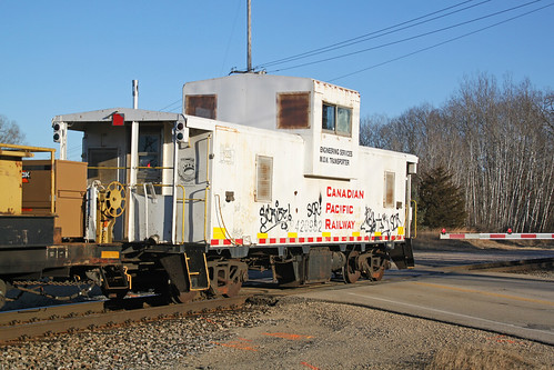Caboose CP 420982 brings up the rear of the rail train