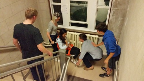 Students learn how to respond and safely transport the injured in real world environments.