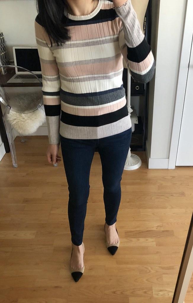 Ann Taylor Striped Rib Sweater, size S regular
