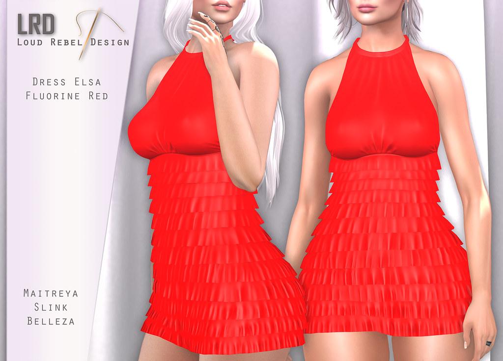LRD Dress Elsa Polka Fluorine Red