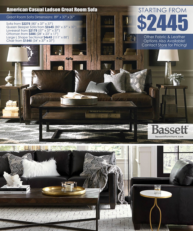 American Casual Ladson Leather Great Room Sofa by Bassett_3105-82LCA-Ladson-FA14_Layout