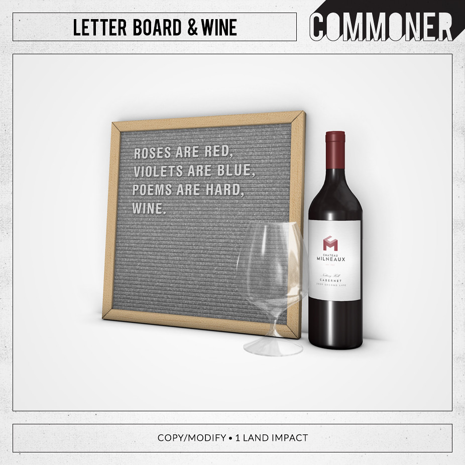 [Commoner] Letter Board & Wine