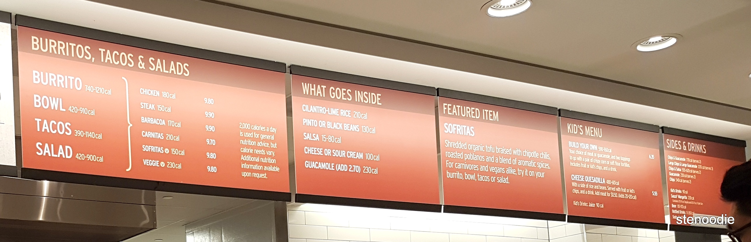 Chipotle menu and prices