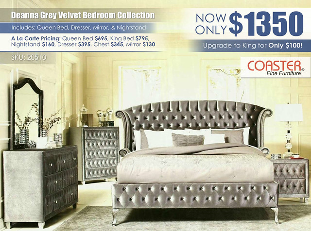 Deanna Grey Velvet Upholstered Bedroom Set_20510