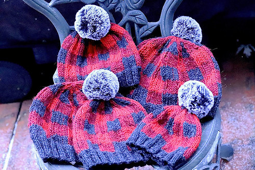Linda's Yukon Campfire Hat (buffalo plaid) by Liz Sutton knit with worsted weight Navia Faroese Sock yarn