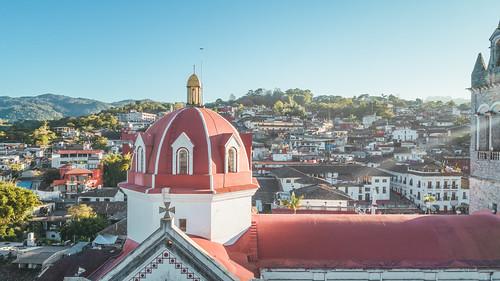Parroquia de San Francisco de Asis, transept dome detail and town, Cuetzalán