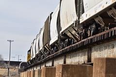 Train cars on the bridge