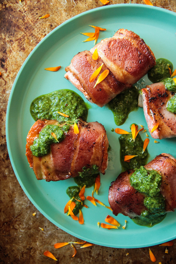 Keto Bacon Wrapped Salmon with Chimichurri Sauce from HeatherChristo.com
