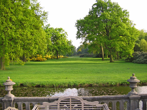 Gravenwezel Castle park from the front terrace above the moat. Antwerp, Belgium