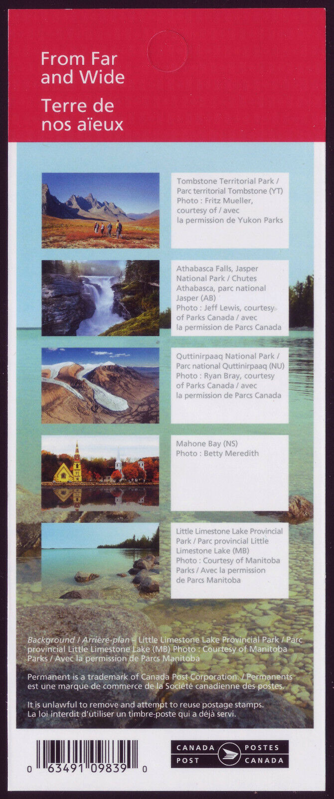 Canada - From Far and Wide (January 14, 2019) 5 designs, booklet of 10 (domestic P rate)