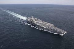 USS Abraham Lincoln (CVN 72) transits the Atlantic Ocean.