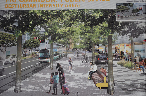 Rendering, Figueroa Street Corridor streetscape project, Los Angeles